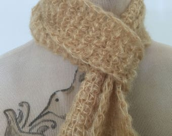 Hand crochet knit mulberry silk and baby suri alpaca lightweight traveller's scarf gift skinny scarf
