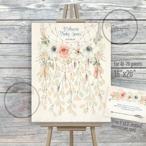 dreamcatcher thumbprint guestbook 16x20 fingerprint dream