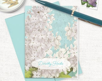 personalized stationery set - GRANDMA'S LILACS in AQUA - set of 8 folded note cards - custom stationary - floral - flower cards - botanical