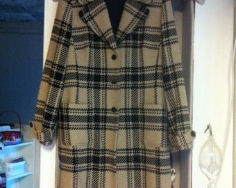 Ann Taylor Loft Tan and Black Wool Blend Plaid Coat size 14 US