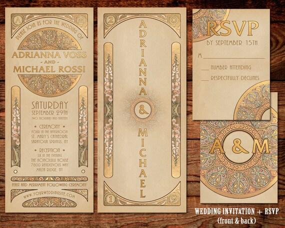Deco Wedding Invitations: Wedding Invitation Suite Gold Art Nouveau Art Deco 2-piece