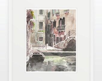 Venice Bridge Watercolor 8 x 10 Giclee Print