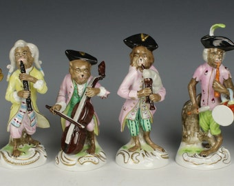 """Set of 6 Scheibe Alsbach Kister figurines """"Monkey Band"""""""