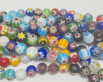 Millefiori Lampwork Glass Beads. Strand Of Beads With 1mm Hole. 10mm, 8mm, 6mm.