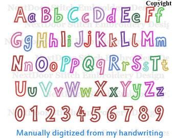 Machine Embroidery Applique letters,  Applique handwriting block font design, includes BX file, font-039