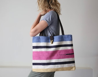 Mother's day - tote - bag Beach - cotton leather - handbag