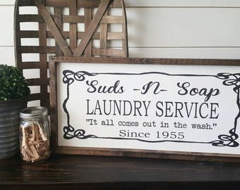 Laundry Sign. Laundry Service.Laundry Room Sign. Laundry Room Decor.  framed wood sign. Rustic Framed Sign. Farmhouse Style.