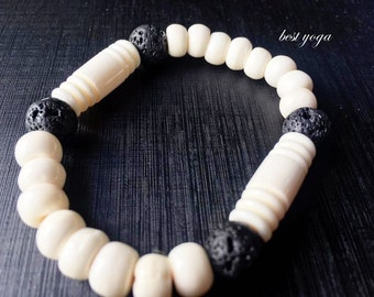 Handmade Lava Stone Beads and Ostrich Bone Beads Men's Ascessories Bracelet Bangle