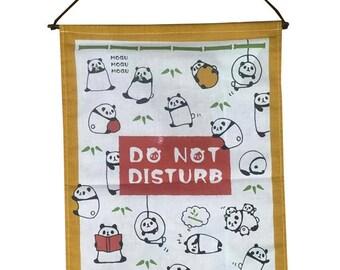 Mogu Panda Do Not Distrub Sign Japanese Curtain ,Flag Wall Hanging Print Fabric