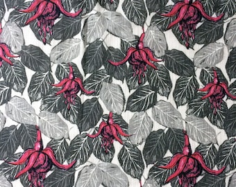 Fuchsias Leaf Fabric Cotton Linen, floral leaf patterned design, natural textile ideal for cushion, curtains, tropical style trend UK