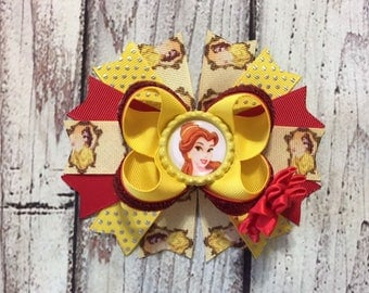 Beauty and The Beast Hair Bow ,Belle Hair Bow ,Princess Stacked Hair Bow , Yellow and Red Belle Hair Bow, Baby Headband