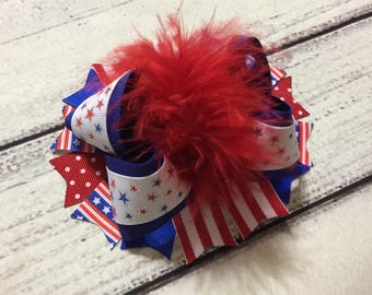 4th of July Hair Bow, Patriotic Over The Top Hair Bows , Patriotic Over The Top Hair Bow , Baby Headband , Patriotic Hair Bow