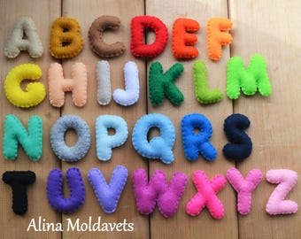 READY TO SHIP! Colorful Felt Alphabet - felt alphabet - felt letters - educational game - preschool - handmade alphabet - stuffed alphabet