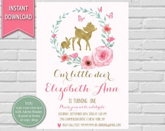 Little Deer First Birthday| Deer,Woodland Birthday Invitation,Deer Invitation,Woodland Invitation,1st Birthday,Woodland Animals