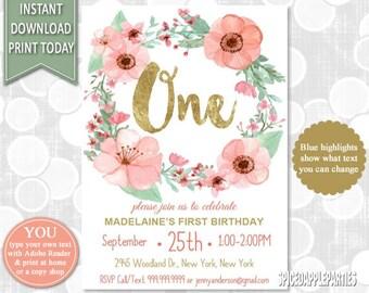 First Birthday Invitation, 1st Birthday Watercolor Flowers Invitation,Flower Birthday, Girls Birthday,INSTANT DOWNLOAD
