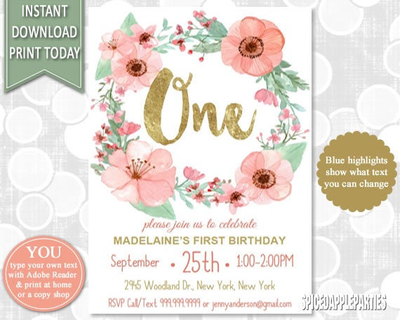 First Birthday Invitation 1st Birthday Watercolor Flowers