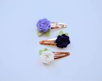 Rose Gold Felt Flower Clips