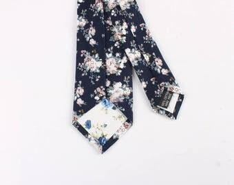 "Navy Skinny Floral Tie 2.36""    -  floral ties, Floral skinny ties, prom, wedding , gift, Vintage, retro, gifts for him, anniversary, Groom"
