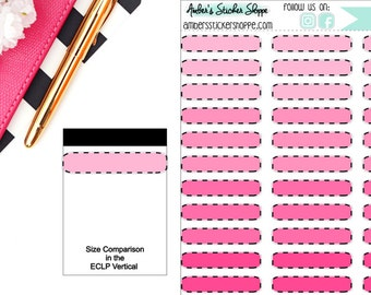 Pink Skinny Dashed Filled Memo Boxes Stickers Planner
