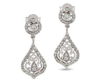 18k diamond and white gold earrings