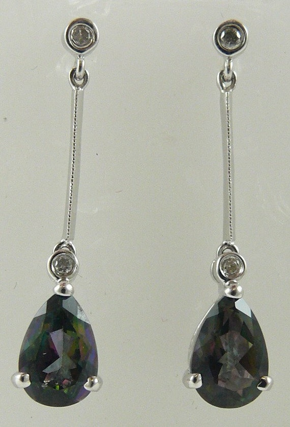 Mystic Topaz 2.58ct Drop Earring and Diamonds 0.08ct 14k White Gold
