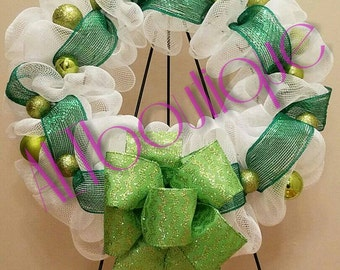 CLEARANCE WAS 35!!! White and Green Ruffle Wreath, Christmas Wreath