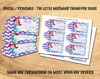 THE LITTLE MERMAID Favor/Thank-You Tags | Digital/Printable