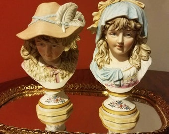 Stunning! Rare Antique French/German bisque figurines head busts-shabby chic/french country by colbert