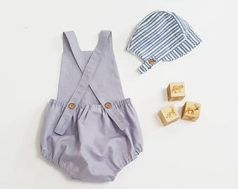 Grey Linen romper, Baby boy romper, toddler romper, baby boy outfit, newborn romper, coming home outfit, grey linen baby overalls