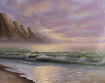 Large Seascape Painting, Fine Art, Landscape Painting, Ocean Waves, Beach Painting, Coastal Art, Original Large Oil Painting on Canvas
