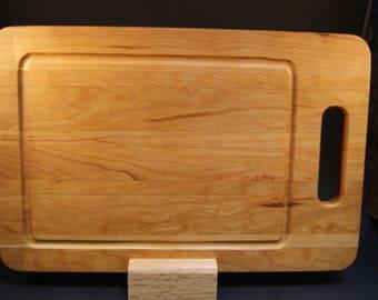 Handmade Wood Cutting Board with Juice Groove made of Hardwood Cherry Wood