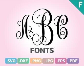 Monogram SVG Fonts, Monogram Fonts SVG Files, Initial Fonts Cutting File, Monogram Font Initials, Monogram Fonts Cut Files, Instant Download