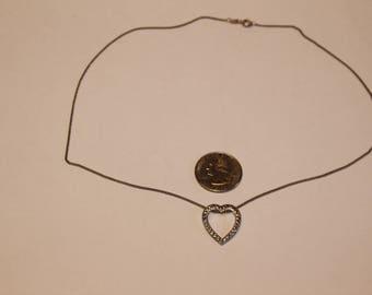 """Vintage sterling silver 18"""" heart necklace baek"""