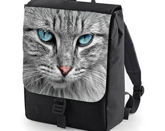 Blue Eyed CAT Backpack perfect for school (Bagbase)