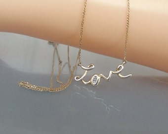 Silver Love Necklace Personalised Romantic Pendant Cubic Zirconia 925 CZ Xmas Gift For Her UK