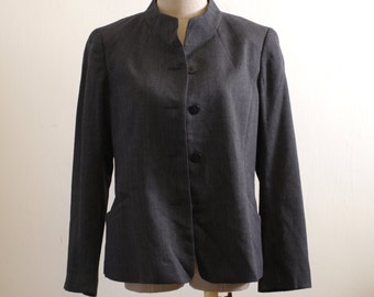 Vintage dark grey tweed Chinese tunic suit