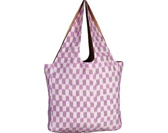 MALETA Handloom Ikkat & Juco eco friendly Reversible Shopping Tote Bag