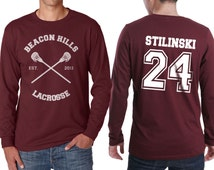 Beacon Hills Lacrosse CR Stilinski 24 Stiles Stilinski Dylan o'brien on Longsleeve MEN tee Maroon color