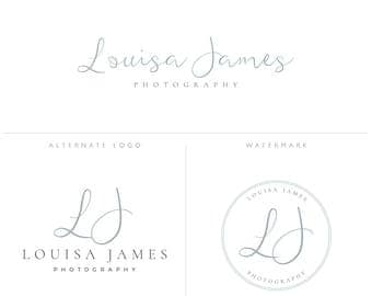 Premade Logo for Photographers, Modern Script, Photography Logo Branding Kit, Initial Signature Logo, Photography Branding Template