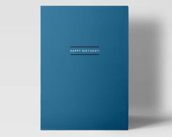 Modern Design Birthday Greeting Card Happy Birthday Blue Simple Typographic