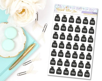 42 Trash Bag Stickers | Perfect For Your Erin Condren Life Planner