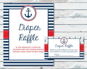 Nautical Baby Shower Diaper Raffle Ticket And Sign, Printable Nautical Diaper Card, Anchor Baby Shower Printable Diaper Insert Ticket