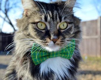 Green plaid cat bow tie collar, green plaid collar, plaid cat collar, Plaid cat bow tie, green cat collar, kitten bow