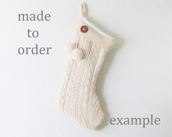 MADE TO ORDER Cream Cable Knit Upcycled Sweater Christmas Stocking (Cream Christmas Stocking, Cream Cable Knit Stocking, Newlywed Gift)