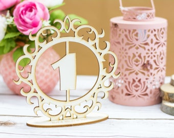 Wooden Table Numbers Rustic Wedding Table Number Rustic Table number with stand Wedding Table Numbers