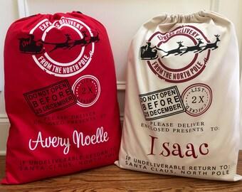 You Choose Colors & Design! Personalized Santa Sack…Christmas Gift Canvas Sacks…Custom Reindeer Bag w/ Name…Gifts and Presents Monogram Sacs