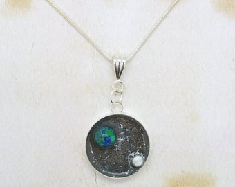 Earth & Moon In Space Resin Cabochon Pendant On Silver Plated Snake Chain Necklace