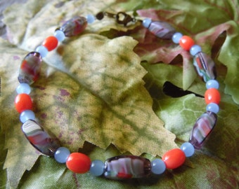 Handmade Beaded Bracelet Orange And Blue 8 Inches