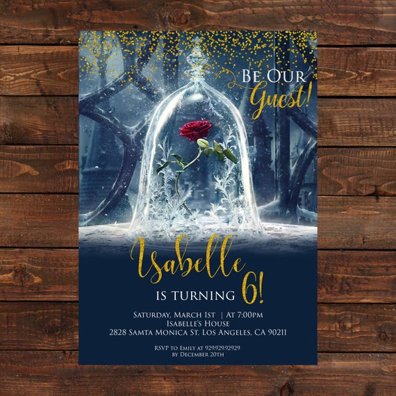 Items similar to beauty and the beast birthday invitations for Beauty and the beast wedding invitation template free