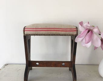 Vintage French wooden stool with stripped linen fabric